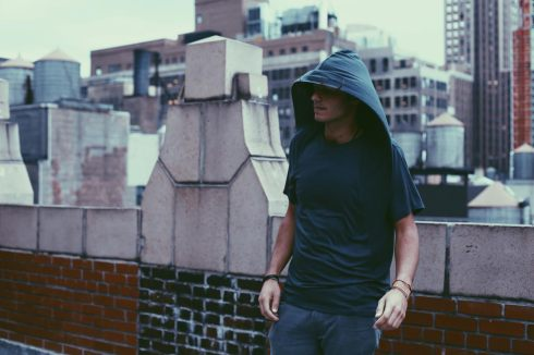 Unisex Jersey Tee, relaxed fit, attached asymmetrical hood.